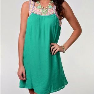 Flying Tomato green dress with embroidered collar